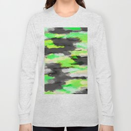 psychedelic camouflage splash painting abstract in green yellow and black Long Sleeve T-shirt