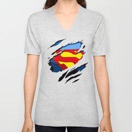 superhero torn - SuperMan Unisex V-Neck