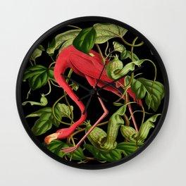 Flamingo Black Wall Clock