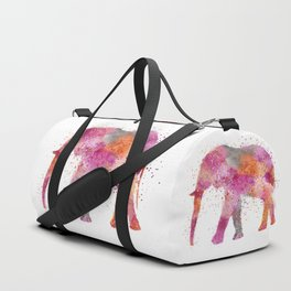 Artsy watercolor Elephant bright orange pink colors Duffle Bag