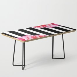 Pink roses on black and white stripes Coffee Table
