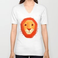 lion V-neck T-shirts featuring Sad lion by Lime