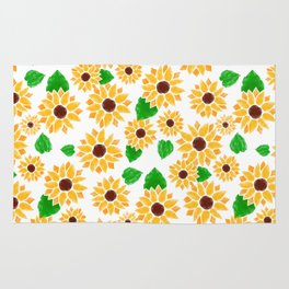 Watercolor Sunflowers Rug