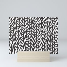 Tribal herringbone mudcloth pattern - black and white Mini Art Print