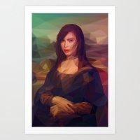 kim kardashian Art Prints featuring La Gioconda / Kim Kardashian / Mona Lisa by Breno Bitencourt