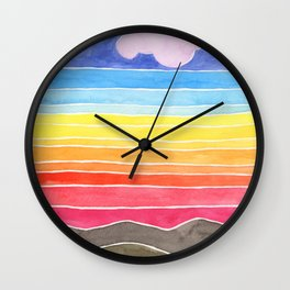Rainbows and Clouds Watercolor Painting Wall Clock
