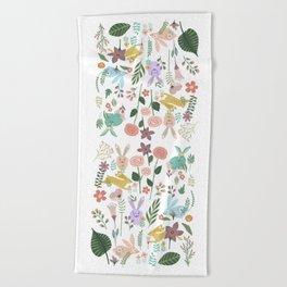 Springtime In The Bunny Garden Of Floral Delights Beach Towel