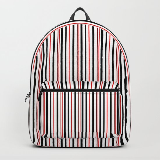 Red, black white striped pattern . Backpack