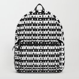 Black and White Womens Makeup Stripes Backpack
