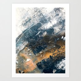 Wander [4]: a vibrant, colorful, abstract in blues, white, and gold Art Print