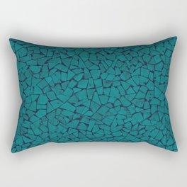Teal Lumber Mosaic Pattern Rectangular Pillow