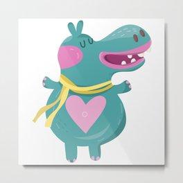 Cute Baby Hippos Metal Print
