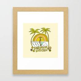 stay golden sun child //retro surf art by surfy birdy Framed Art Print