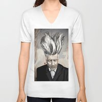 lynch V-neck T-shirts featuring David Lynch by Khasis Lieb
