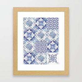 Azulejo VIII - Portuguese hand painted tiles Framed Art Print