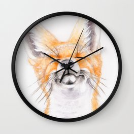 Happy Fox #society6 #buyart #decor #lifestyle Wall Clock