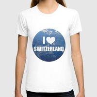 switzerland T-shirts featuring I Love Switzerland by Caroline Fogaça
