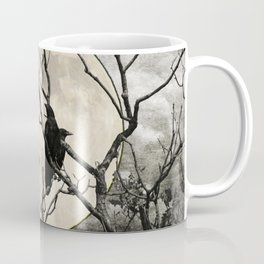 Black White Crows Birds Tree Moon Landscape Home Decor Matted Picture Print A268 Coffee Mug