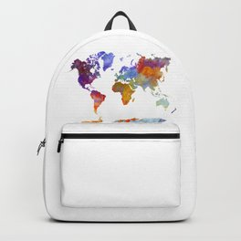 World map in watercolor 23 Backpack