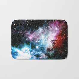 Carina Nebula : Vivid Blue Fuchsia and Red Bath Mat