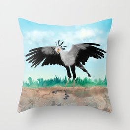 The Secretary Bird and the Snake - African Wildlife Creatures Throw Pillow