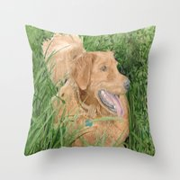 conan Throw Pillows featuring Golden Retriever Conan by Yvonne Carter