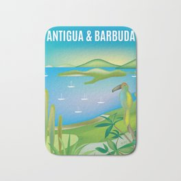 Antigua & Barbuda - Skyline Illustration by Loose Petals Bath Mat