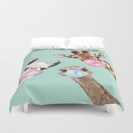 Bubble Gum Gang in Green Duvet Cover