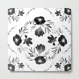 Floral Square Black & White Metal Print
