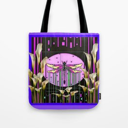 Purple Art Nouveau Calla Lilies Dragonfly Art Tote Bag