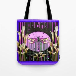 Purple Art Nouveau Calla Lilies Dragonfly Art Tote Bag