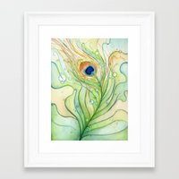 peacock feather Framed Art Prints featuring Peacock Feather by Olechka