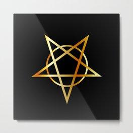 Golden inverted upside down Pentagram antichrist symbol Metal Print