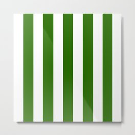 Metallic green - solid color - white vertical lines pattern Metal Print