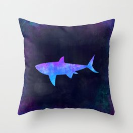 SHARK IN SPACE // Animal Graphic Art // Watercolor Canvas Painting // Modern Minimal Cute Throw Pillow
