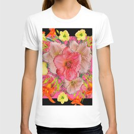 YELLOW PINK & CREAM DAYLILIES BLACK GARDEN T-shirt