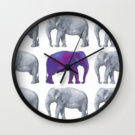 Elephants II Wall Clock