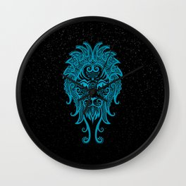 Blue Leo Zodiac Sign in the Stars Wall Clock