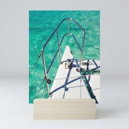 Catamaran green water Mini Art Print