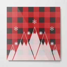 Christmas Snowflakes Mountain With Buffalo Check/ Red & Black Plaid/ Background Metal Print