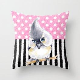 Cute Titmouse Pink Polka Throw Pillow