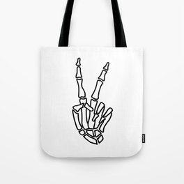 Peace skeleton hand Tote Bag