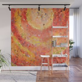 Portal. Red orange mosaic drawing Wall Mural