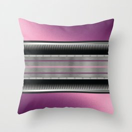 Pink Purple Metallic Accented By Black Chrome Steampunk Jaws Throw Pillow