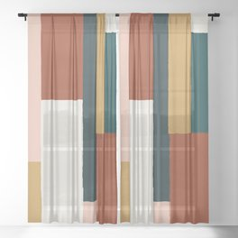 Spring Color Block Sheer Curtain