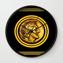 Greek Key and Coin - Black Wall Clock