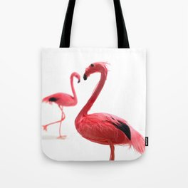 Pink Flamingos with Heart Tote Bag