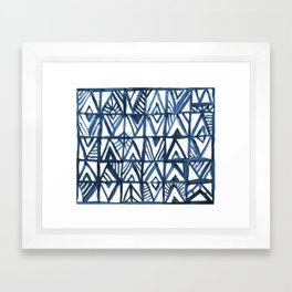 Geometric Indigo Framed Art Print