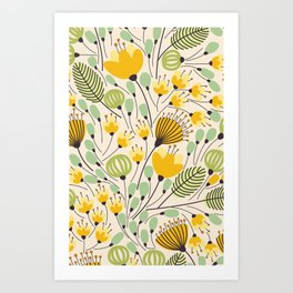 Floral Pattern - Doodle Pattern - Pattern Art Print