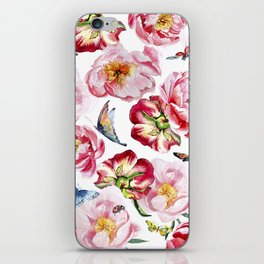 Pink flowers peony and butterfly background watercolor wedding illustration iPhone Skin